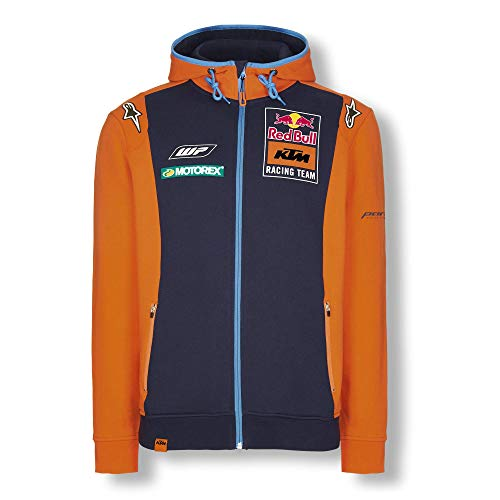 Red Bull KTM Official Teamline Zip Felpa con Cappuccio, Blu Uomini Large Hoodie, KTM Factory Racing Abbigliamento & Merchandising Uff