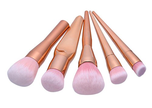 HZS Ensemble de Brosse à Maquillage Make-up Set Ensemble de Brosse Makeup 5 pièces Kits de Maquillage pour Visage et Oeil Ensemble de Brosse à Maquillage Naturel Kabuki