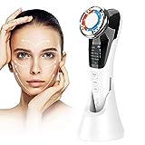 Kosmetisches Ultraschallgerät Faltenentferner Gesichtsmassage Mit ION- Und Photon Funktion Heiße/Kühle Behandlung für Gesichtpflege Anti Falten Anti-aging (Weiß-schwarz01)