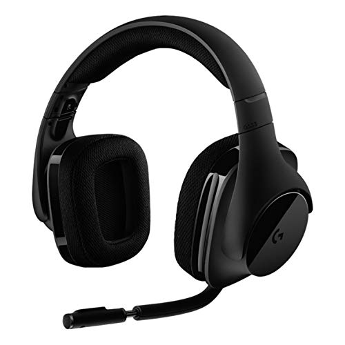 Logitech G533 Wireless Gaming-Headset, 7.1 Surround Sound, DTS Headphone:X 3D, 40mm Pro-G Treiber, 2.4 GHz Verbindung via USB-Empfänger, Noise-Cancelling Mikrofon, 15-Stunden Akkulaufzeit, PC/Mac
