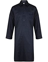 Chemise de nuit bleu à motif, 100% Coton - homme