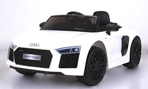 RIRICAR Audi R8 Spyder Elektrisches Kinderfahrzeug, Weiss, Original lizenziert, batteriebetrieben, Öffnungstüren, Ledersitz, 2X Motor, 12 V Batterie, 2.4 Ghz Fernbedienung