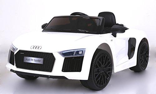 elektrisches kinderfahrzeug RIRICAR Audi R8 Spyder Elektrisches Kinderfahrzeug, Weiss, Original lizenziert, batteriebetrieben, Öffnungstüren, Ledersitz, 2X Motor, 12 V Batterie, 2.4 Ghz Fernbedienung
