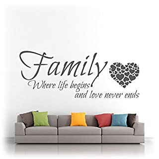 Family Where Life Begins & Love Never Ends Hearts Quote - Vinyl Wall Art Sticker Silhouette Decal