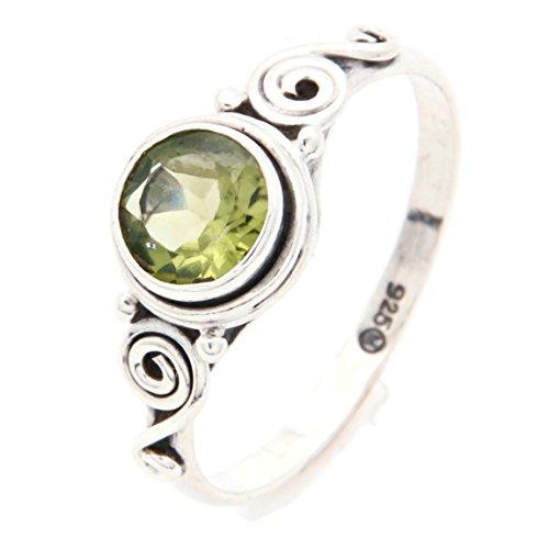 Ring Silber 925 Sterlingsilber Peridot grün Stein (MRI 115), Ringgröße:58 mm/Ø 18.5 mm