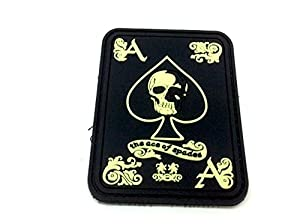 Ace Of Spades 'As De Pique' Brillent Dans le Noir PVC Biker Airsoft Patch