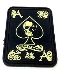 Ace Of Spades 'As De Pique' Brillent Dans le Noir PVC Biker Airsoft Patch