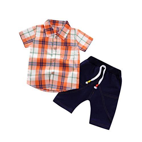 Jerfer ragazzo ragazza bambino felpa camicia a maniche corte scozzese boy gentleman + shorts in denim unisex felpe