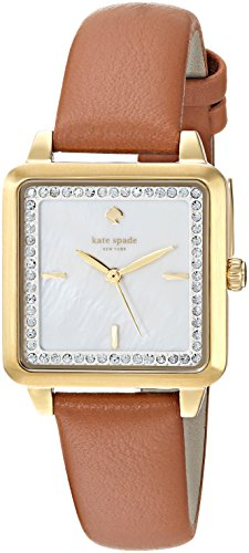 Kate Spade New York Women's 'Washington Square' Quartz Stainless Steel and Leather Casual Watch, Color Brown (Model: KSW1339)