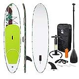 ECD Germany Stand up paddle board gonflable - 308 x 76 x 10 cm - Vert - PVC - Pagaie en aluminium/PVC - comprend pompe, sac de transport et accessoires - Planche de surf - Divers modèles