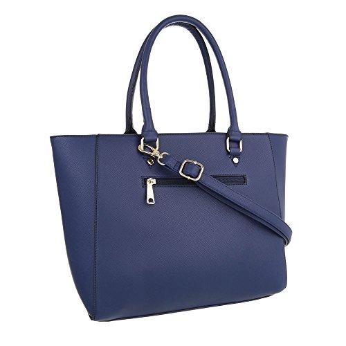 iTal-dEsiGn Damentasche Mittelgroße Schultertasche Handtasche Kunstleder TA-8624-1 Blau