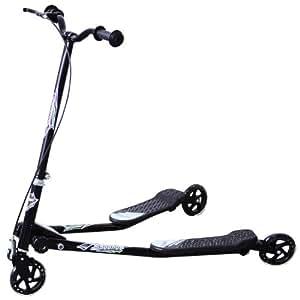 Homcom Kids 3 Wheels Foldable Speeder Scooter Tri Slider Winged Push Motion Black