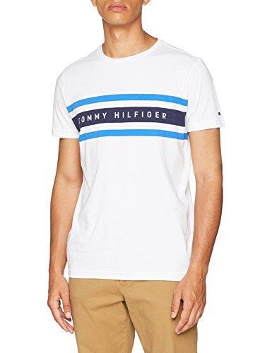 Tommy hilfiger logo band graphic tee, t-shirt uomo, bianco (bright white 100), small