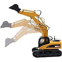 ZMH Juguetes 15 CH Canal 2.4 G 1/14 RC Excavador Carga RC Control Remoto Coche con Batería RC Aleación Excavadora RTR para Niños