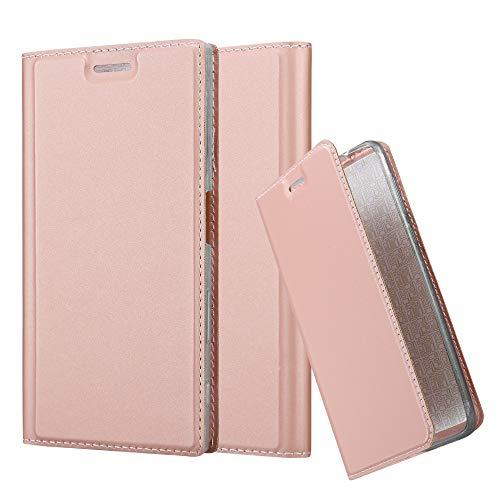 Cadorabo Hülle für Sony Xperia XZ/XZs - Hülle in ROSÉ Gold - Handyhülle mit Standfunktion & Kartenfach im Metallic Erscheinungsbild - Case Cover Schutzhülle Etui Tasche Book Klapp Style