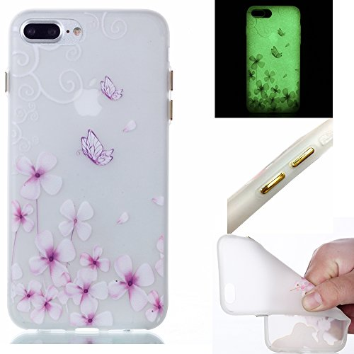Coque pour iphone 7 Plus, Etui pour iphone 7 Plus, Coque Lumineux pour iphone 7 Plus, Cozy Hut Ultra Mince Souple TPU Silicone Etui Housse de Protection Nuit Luminous Glow Series Transparente Silicone Fleur de papillon
