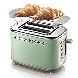ZOUQILAI Brotbackautomat 2 Scheiben von Frühstück Machiner Automatic Edelstahl Toaster Verbreiterte Backtrog 6 Brown Einstellungen Grün