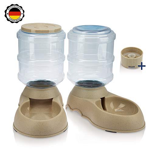 RayZoolia Premium Automatischer Futter und Wasserspender für Katzen und Hunde, lebensmittelecht, besonders groß (3,8 Liter) inkl. Ersatz-Ventil