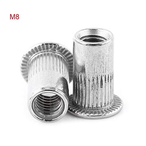 Nietmuttern Flachkopf Aluminium Gewinde Blindeinsatz Rivnut sert Schraube Edelstahl M3-M8(M8) -