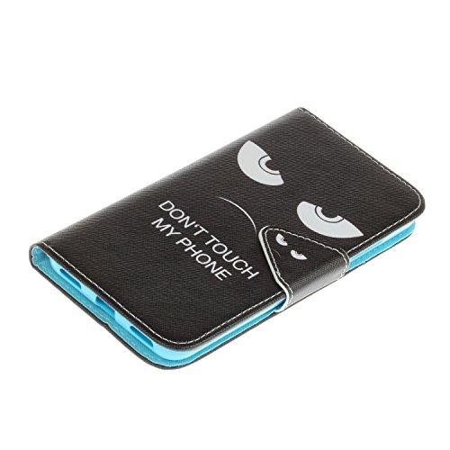 Honor 5A/Y6II Hülle,Honor 5A/Y6II Case, Honor 5A/Y6II Tasche Cozy Hut Handy Tasche Schutz Hülle im Bookstyle für Huawei Honor 5A/Y6II Wallet Case mit Standfunktion Schutzhülle mit Standfunktion Karten Schwarze Augen