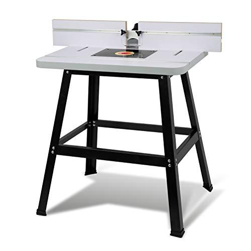 EBERTH Oberfräsentisch Frästisch für Oberfräse und Tischfräse (810 x 610 mm Arbeitstisch, 880 mm Tischhöhe, 36 mm Tischdicke, 2x Anschlag, Absauganschluss, Universalaufnahme)