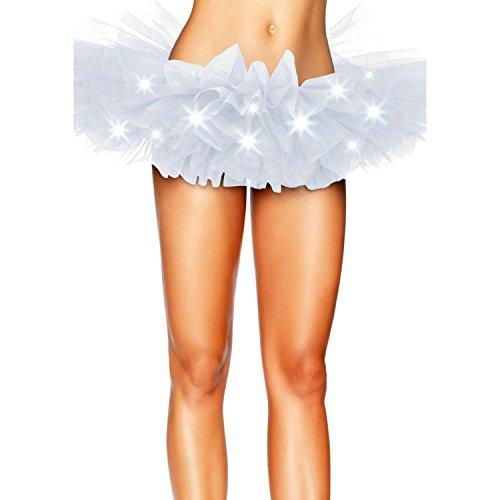 Sumchimamzuk Damen Glam Gotik Tüll mit LED Licht Ballet Tutu Tanz Rock Weiß