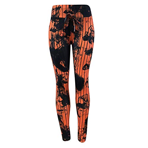 Damen Gedruckte Sport Gym Yoga Hosen MYMYG Skinny Tube Trousers Trainingshose Jogginghose Strumpfhosen Sporttights(Orange,EU:36/CN-M)