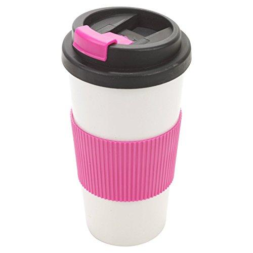Isolierbecher, Thermobecher, 500 ml, auslaufsicher dank Schraubdeckel, einfacher Griff, zum Trinken vom warmen Kaffee und Tee unterwegs rose