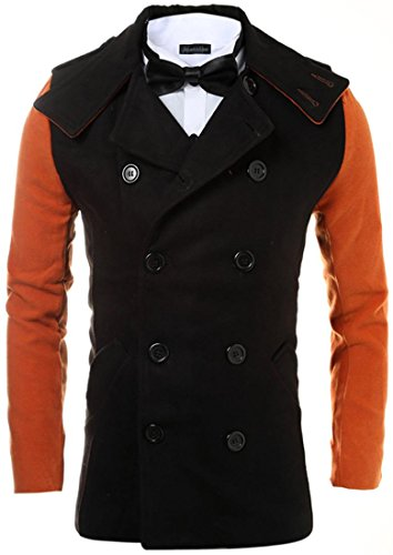 jeansian Herren Fashion Two-Color Stitching Double Breasted Trench Long Coat Jacket Winter Overcoat Tops 9563 Black