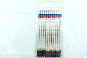 Paquet de 12 pièces de crayons HB - Tables de multiplication coloré thème avec Eraser au-dessus des Etats-Unis