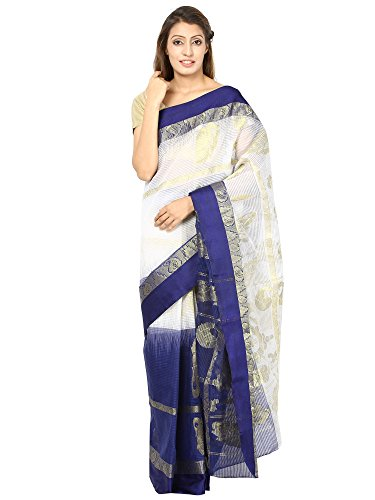 KGMAK Blue Bordered Golden Zari Work White Silk Cotton Bengal Dhakai Jamdani Sarees For Women 0038