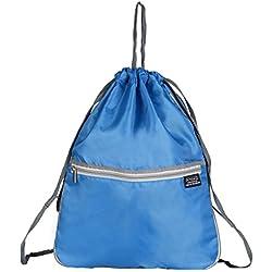 Bolsas de Cuerdas, Beschoi Mochila Seca de Cuerdas de 420D Nylon Impermeable y Resistente, Mochila de Deporte con Material Reflectante Ligera y Portátil para Deporte Gimnasio Viaje, Color Azul