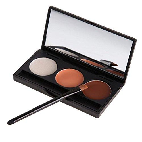 Susenstone Crème de Tache de Couleur 3 Sourcil Poudre Sourcils Palette Cosmétiques Maquillage pour les Yeux Ombrage Kit Brosse Miroir