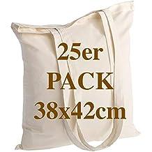 bb10cdebf POLHIM Bolsa de algodón de Calidad 25 Piezas 145 g/m2 tamaño 38x42 cm Mango