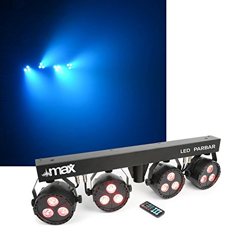 Lichtset LED-Spots (4-Wege-Kit 3x 4-in-1-LEDs, RGBW, 8-Kanal-DMX-Steuerung, inkl. T-Balken, Stativ, höhenverstellbar, Fernbedienung) schwarz (Nebelmaschine Lösung)
