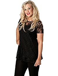 f065cbdd3fec0 Nouvelle Collection Womens Plus Size Top Ladies Floral Lace Shirt Lined  Tunic 14 to 30-