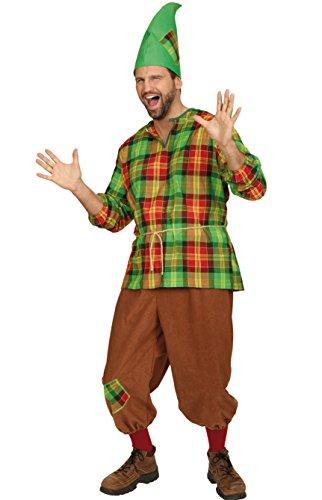Zwergenkostüm grün-rot-braun für Herren   Größe 50-52   3-teiliges Märchen Kostüm für Karneval   Wichtel Faschingskostüm für (Sieben Ideen Zwerge Kostüm)