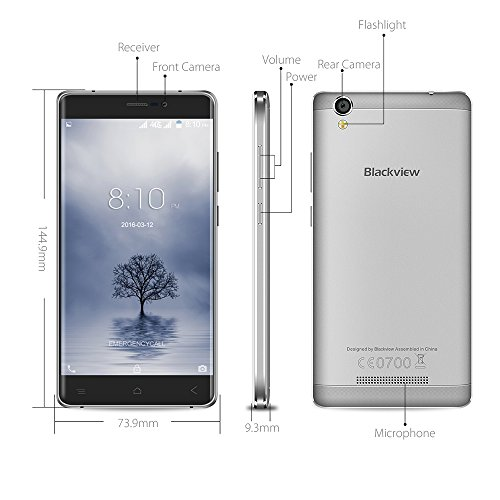 Blackview Smartphone A8 MAX Ohne Vertrag 4G(5.5 Zoll-2Gb RAM&16Gb ROM -Android 6.0), MT6737 1.3GHz Quad-Core Dual SIM Mobiltelefon mit GPS, Bluetooth 4.1,WIFI - 2