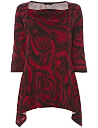 Roman Originals - Tunique Motif Roses Col Carré Manches 3/4 Tops - Rouge