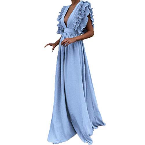 Damen Kleider in Übergrößen Vintage Fly Hülse Rückenfrei Tief V-Ausschnitt Abendkleider Elegant Partykleid Swing-Kleid Einfarbig Langes Kleider Elegant Kleider Maxikleider