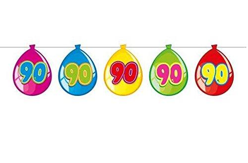 irlande mit Zahl 90 auf Pappballons Wimpelgirlande Wimpelkette mit 15 Pappballons und 10m lang Dekoration zum 90er Geburtstag Party oder andere Anlässe (90er Geburtstag)