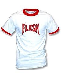 La camiseta del flash (según lo llevado por Freddie Mercury) grande, colorea el campanero blanco/rojo