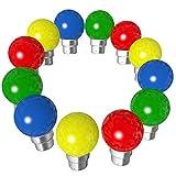 Lot de 12 ampoules Led B22 1W Guirlande Rouge, Jaune, Verte, Bleu Incassables (équivalence 15W)