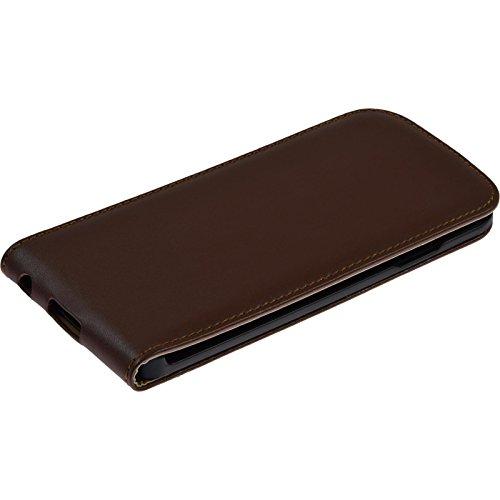 PhoneNatic Kunst-Lederhülle für Apple iPhone 6s / 6 Flip-Case weiß Tasche iPhone 6s / 6 Hülle + 2 Schutzfolien Braun