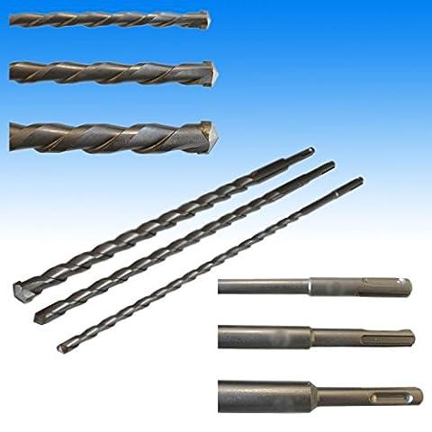 3x SDS Plus 26cm de long Maçonnerie Foret Foret à béton Mèche pour marteau perforateur Ø