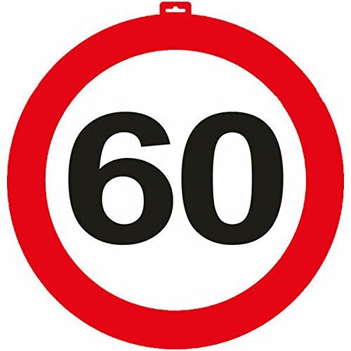 erkehrsschild * Zahl 60 * ┃ Ø 47,5cm ┃ Deko 60. Geburtstag ┃ Türschild und Straßenschild ┃ Mit & ohne Aufhänger ✔ ()