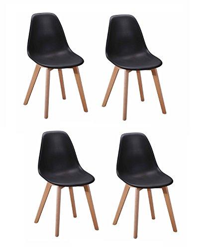 Meubletmoi 4 chaises Design scandinave - Noir - Assise Ergonomique - Pieds en Bois de hêtre - Collection DAWY