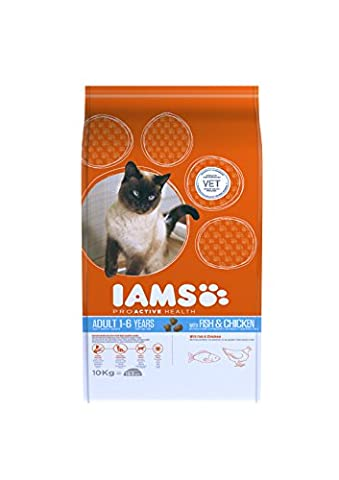 Iams Cat Food ProActive Health Adult With Wild Ocean Fish and Chicken, 10 kg