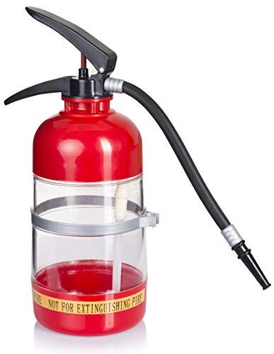 Grinscard Getränkespender im Feuerlöscher Design - Rot ca. 1,5 Liter - Getränke Dispenser für Hausbar und Partys - Party Feuerwehr