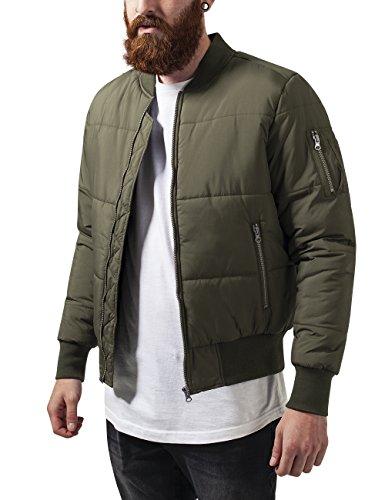 Urban Classics Herren Jacke Basic Quilt Bomber Jacket, Grün (Olive 176), Small (Bomber Classic Mantel)